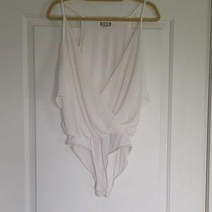 White cold shoulder bodysuit!